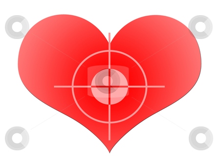 Aim To Red Heart stock photo, The Target At The Big Red Heart over White Background by Skovoroda