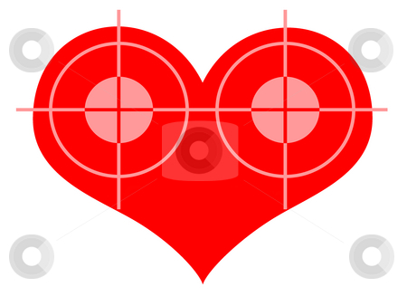 Double Blow stock photo, Double Target At Red Heart Symbol over White Background by Skovoroda