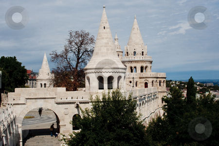 Fistherman's Bastiopn, B udapest stock photo, Spires of the Fisherman's Bastion, Budapest, Hungary by Thomas Marchessault
