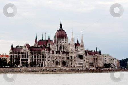 Hungarian Parliament stock photo, Hungarian Parliament, Budapest Hungary from the Danube by Thomas Marchessault