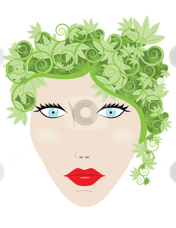 Nature Woman stock vector clipart, Woman with leaves for hair in a concept illustration by John Teeter