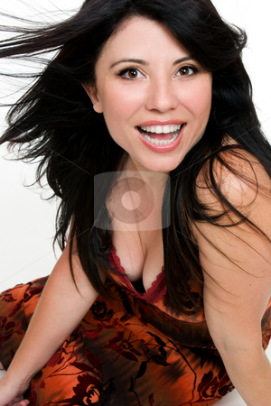 Woman with big smile stock photo, Vivacious woman with a big beautiful smile by Leah-Anne Thompson