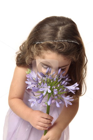 Young girl smelling a beautiful  flower stock photo, A small girl wearing a mauve dress sniffing a large agapanthus flower head.  Agapanthus comes from the Greek words agape for love and anthos for flower. by Leah-Anne Thompson