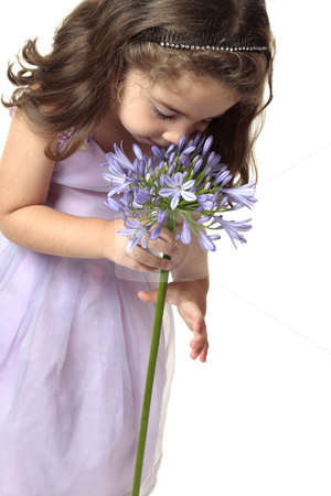 Girl smelling a beutiful flower stock photo, A young girl smelling a large agrican lily - agapanthus by Leah-Anne Thompson