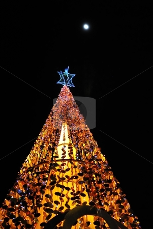 Christmas tree lights isolated on black stock photo, Christmas tree lit up with decorations and colorful lights, on a full moon night. Suitable for winter seasons, christmas and holiday concepts. by Wai Chung Tang