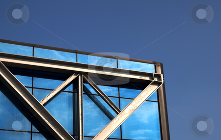 Palace stock photo, Part of a glass and metal palace in blue sky by Fabio Alcini