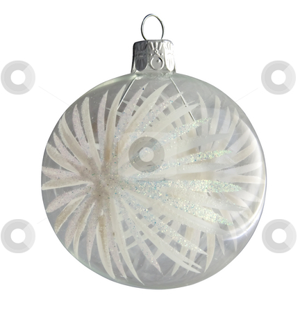 Christmas ball stock photo, Lonely glass Christmas ball over white background by Fabio Alcini