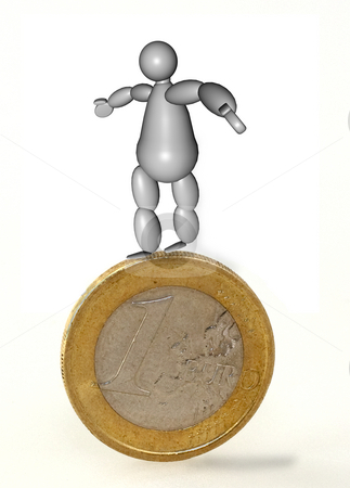 3D Acrobat Puppet stock photo, 3D Puppet seeking balance over one euro coin by Fabio Alcini