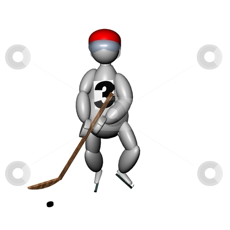 3D Puppet playing hockey stock photo, 3D Puppet playing hockey, with red helmet, on white background by Fabio Alcini