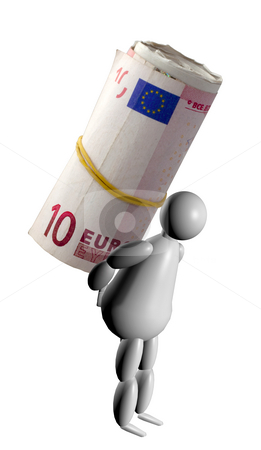 3D Puppet bearing a roll of money stock photo, 3D Puppet bearing a big roll of euros by Fabio Alcini