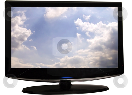 TV stock photo, View of a black last generation tv screen, with sky on the screen by Fabio Alcini
