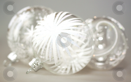 Christmas balls stock photo, Shiny Christmas glass balls over gray background by Fabio Alcini