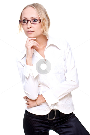 Business woman in a glasses stock photo, Business woman in a glasses on a white background by Artem Zamula