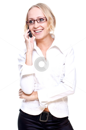 Business woman in a glasses with telephone stock photo, Business woman in a glasses with telephone on a white background by Artem Zamula