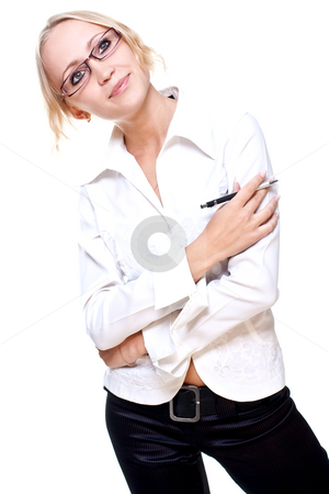 Business woman in a glasses with pen stock photo, Business woman in a glasses with pen on a white background by Artem Zamula