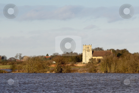 Winter floods 4 stock photo, A rural church overlooking winter floods in the derwent valley in yorkshire by Mike Smith