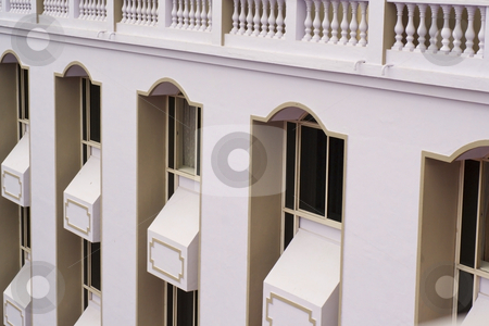 Hotel facade stock photo, An ornate hotel facade with white walls and ballastrade by Mike Smith