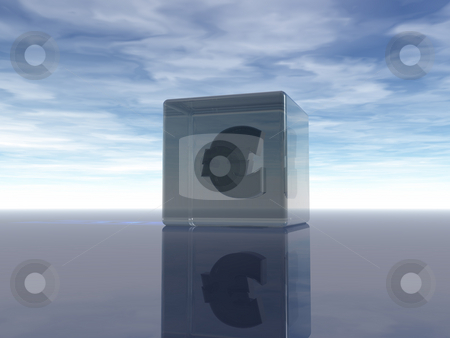 Euro stock photo, Euro symbol in a glass cube under cloudy blue sky - 3d illustration by J?
