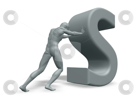 Man pushes the letter S stock photo, Man figure pushes the letter S on white background - 3d illustration by J?