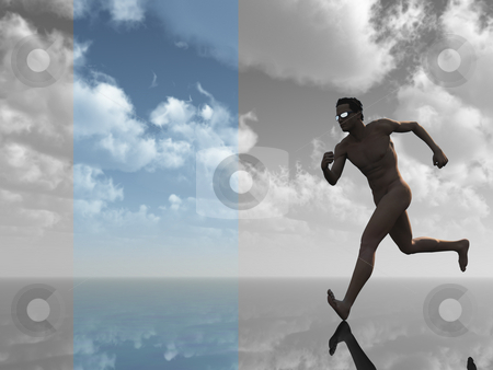 Sportsman stock photo, Runner with sun glasses under cloudy sky - 3d illustration by J?