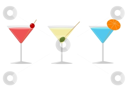 Three Cocktails stock vector clipart, Vector illustration of three cocktails in martini glasses by Oliver Klimek