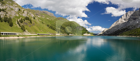 Lago Fedaia, panorama stock photo, The artificial lake and pass of Fedaia (Dolomites, Trentino, Italy), at summer by ANTONIO SCARPI