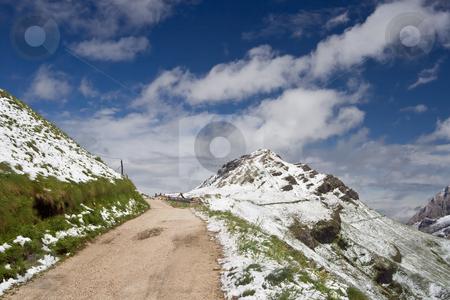 Mountain path stock photo, Path that connects Pordoi pass to Fedaia pass, trentino, Italy. Photo taken with polarizer filter by ANTONIO SCARPI