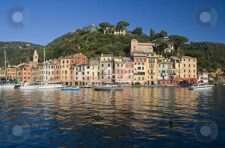 Portofino stock photo, Panorama of Portofino, Italy famous small town in mediterranean sea. Photo taken with polarized filter by ANTONIO SCARPI