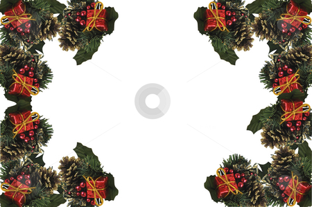 Christmas frame.  stock photo, Christmas decorations on white with space for text. by Liana Bukhtyyarova