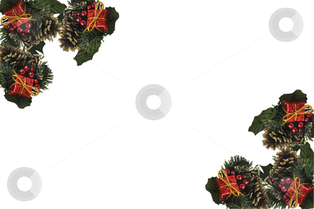 Christmas border. stock photo, Christmas decorations on white with space for text. by Liana Bukhtyyarova