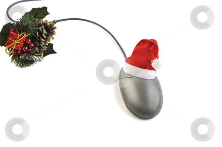 Christmas time. stock photo, Computer mouse with Santa hat and holiday decoration  isolated over white. by Liana Bukhtyyarova