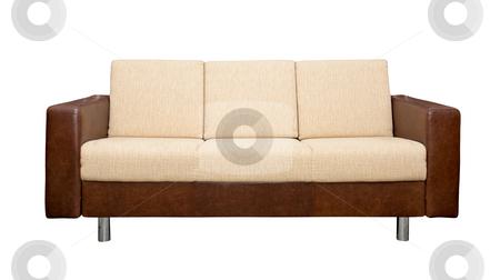 Leather sofa with fabric upholstery stock photo, A leather sofa with fabric upholstery isolated on white background by Tatsiana Amelina