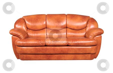 Leather sofa stock photo, A leather sofa isolated on white background by Tatsiana Amelina