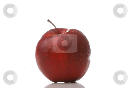 Waterdrops on an apple stock photo, A red apple with waterdrops isolated on white background by Alexander Zschach