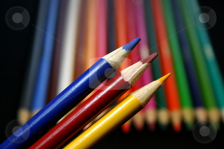Colored Pencils (primary colors) stock photo, A variety of colored pencils featuring the primary colors. by Candace Beckwith