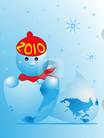 NEW YEAR 2010 stock photo, The image of New Year born from egg in the form of the globe by Alina Starchenko
