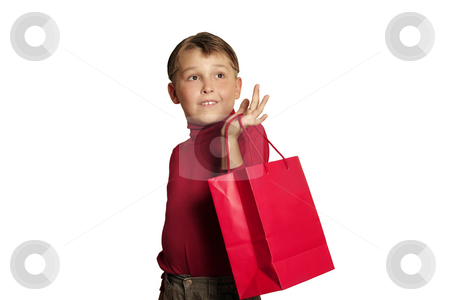 Shopping for Gifts stock photo, Child with shopping bag.  eg christmas shopping, gifts, bargains by Leah-Anne Thompson
