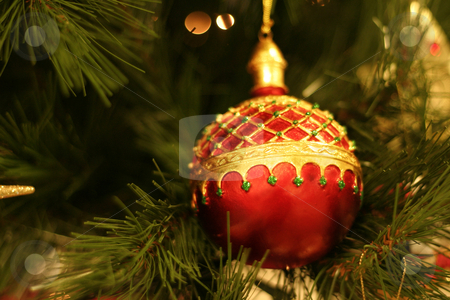 Christmas bauble stock photo, Christmas bauble, shallow dof, focus on bauble. by Leah-Anne Thompson