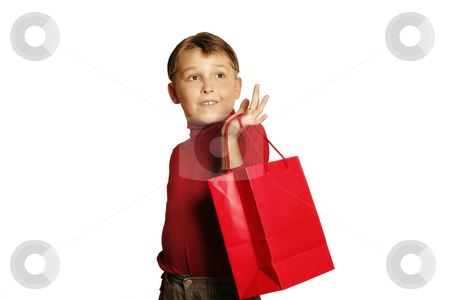 Shopping for Gifts stock photo, Young boy shopping for gifts by Leah-Anne Thompson