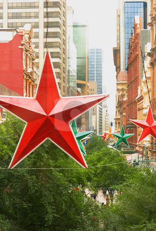 Star City stock photo, City of Stars!   Modern and historic buildings and star decorations. by Leah-Anne Thompson