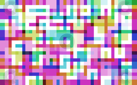 Pixelated maze stock photo, A digital background with multiple colours with a stylised maze pattern by Stephen Gibson