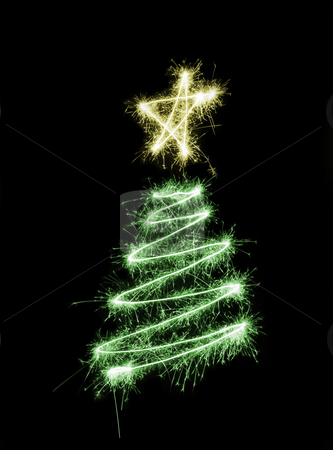 Sparking Chrismas Tree stock photo, A christmas tree drawn in sparkling light trails by Stephen Gibson