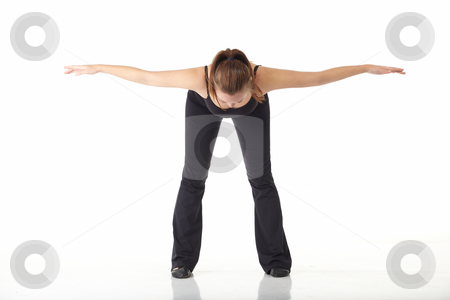 Modern Jazz dancer stock photo, Young caucasian Modern Jazz dancer in a black top and black pants on a white background displaying various positions. NOT ISOLATED by Sean Nel