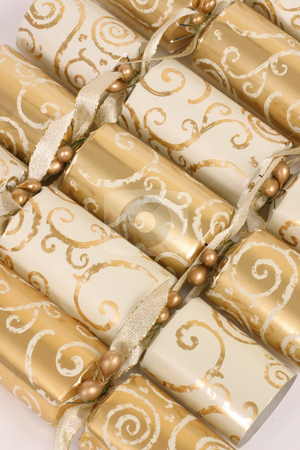 Cracker row stock photo, Decorated crackers in a row by Leah-Anne Thompson