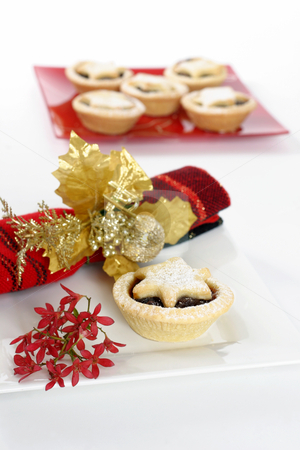 Fruity Pastries stock photo, Sweet fruit mince pies.   Red Australian Christmas bush decorative napkin.  Focus on foreground. by Leah-Anne Thompson