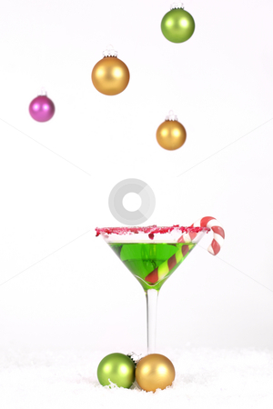 Christmas Cheers stock photo, Christmas Drink and hanging coloured baubles decoration by Leah-Anne Thompson
