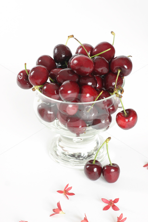 Cherries stock photo, Cherries in glass bowl by Leah-Anne Thompson