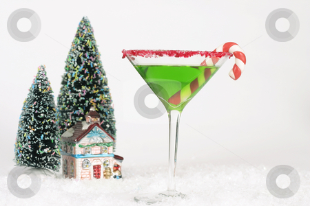 Christmas Drinks stock photo, Alcoholic drink and snow scene with a Christmas theme by Leah-Anne Thompson