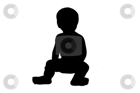 Toddler Silhouette Illustration stock photo, An illustration of a toddler isolated on a white background. by Travis Manley