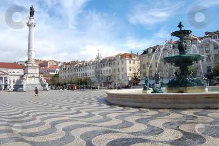 Square in Lisbon stock photo, Picture of a square in Central Lisbon, Portugal, in nice weather. (Praca Dom Pedro IV) by Jose Eduardo Valle